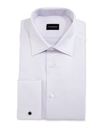 Ermenegildo Zegna Solid Textured French Cuff Dress Shirt Lavender Pink