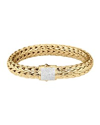 Classic Chain 18K Gold And Diamond Large Bracelet John Hardy