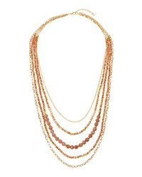 Panacea Golden Multi Strand Beaded Necklace Peach