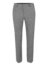 Topman Black Puppytooth Cropped Skinny Fit Dress Pants