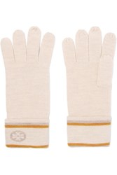 Tory Burch Intarsia Knit Wool Gloves Ivory