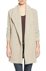 Women's James Perse Open Drape Boucle Cardigan Cement