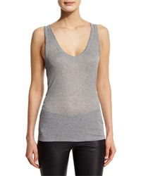 Zadig And Voltaire Semisheer Ribbed Raw Edge Tank Gris