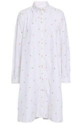 Chinti And Parker Embroidered Cotton Poplin Shirtdress White