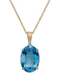 Macy's Blue Topaz 7 Ct. T.W. And Diamond Accent Oval Pendant Necklace In 14K Gold