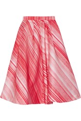 Vika Gazinskaya Striped Satin Midi Skirt Red