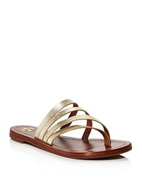 Tory Burch Patos Metallic Leather Thong Sandals Spark Gold