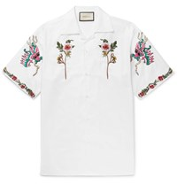 Gucci Camp Collar Embroidered Cotton Oxford Shirt White