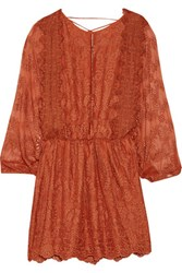 Zimmermann Alchemy Embroidered Silk Mini Dress Camel