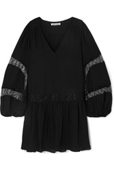 Elizabeth And James Leslie Lace Trimmed Georgette Mini Dress Black