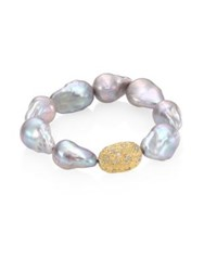 Jordan Alexander 15Mm Baroque Freshwater Pearl Diamond And 18K Yellow Gold Beaded Stretch Bracelet