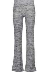 Splendid Melange Stretch Ribbed Knit Bootcut Pants Light Gray
