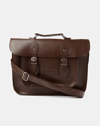 The Idle Man Leather Look Satchel Brown