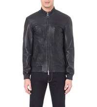 Armani Jeans Two Way Zip Up Leather Bomber Jacket Blue