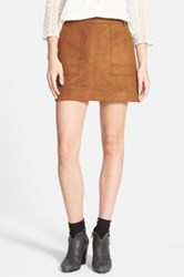 Hinge Faux Suede A Line Miniskirt Brown
