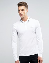 Armani Jeans Polo Shirt With Tipping In White Slim Stretch Fit Long Sleeves White