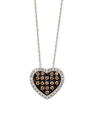 Le Vian Chocolate Diamond Heart Pendant In 14 Kt. White Gold