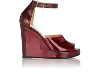Maison Martin Margiela Women's Ankle Strap Wedge Sandals Burgundy Brown