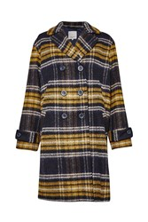 Great Plains Check Double Breast Coat Navy