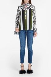Msgm Women S Stripe And Floral Blouse Boutique1 Multi