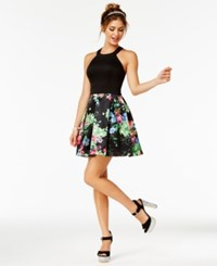 Teeze Me Juniors' Halter Fit And Flare Dress Black Multi