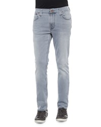 Nudie Jeans Thin Finn Pale Lead Washed Denim Jeans Light Gray