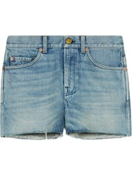 Gucci Denim Shorts With Patches Blue