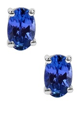 Olivia Leone Sterling Silver Tanzanite Stud Earrings Blue