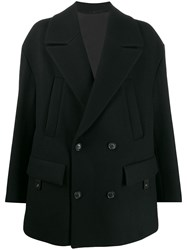 Juun.J Oversized Double Breasted Coat Black