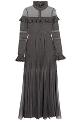 Elie Saab Tulle Paneled Ruffled Metallic Ribbed Knit Gown Gray