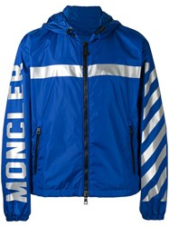 Moncler X Off White Stripe Hooded Jacket Blue