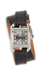 Wgaca What Goes Around Comes Around Hermes Cape Cod Double Wrap Watch Black
