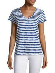 Vineyard Vines Striped Slub V Neck Tee Azure Blue