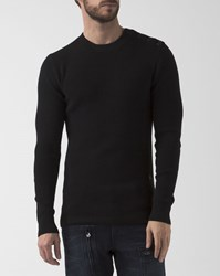 G Star Mt Dadin Black Crew Neck Pullover With Shoulder Buttons