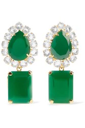 Bounkit Gold Tone Crystal Earrings Emerald