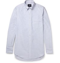 Drakes Drake's Slim Fit Striped Cotton Oxford Shirt Blue