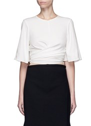 Ellery 'Dalliance' Wrap Tie Crepe Top White