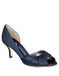 Nina Culver Satin Open Toe Pumps Navy