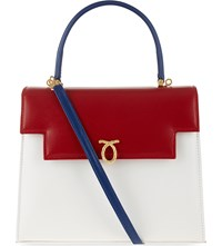 Launer Traviata Leather Tote White Base Red Blue