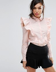 Fashion Union Shirt With Sleeve Detail Pink