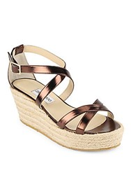Jimmy Choo Leather Strappy Espadrilles Gold