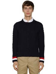 Thom Browne Aran Cable Knit Wool Crewneck Sweater Navy