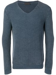 Iris Von Arnim Knitted V Neck Jumper Blue