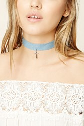 Forever 21 Denim Cross Pendant Choker Silver Light Blue