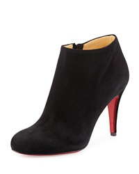 Christian Louboutin Belle Round Toe Suede Red Sole Bootie