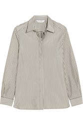 Max Mara Striped Crepe De Chine Shirt Ivory