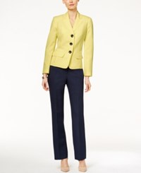 Le Suit Colorblocked Three Button Jacket Pantsuit Daffodil Navy