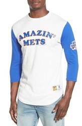 Men's Mitchell And Ness 'Amazin' Mets' Three Quarter Sleeve T Shirt