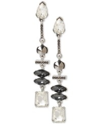 Kenneth Cole New York Silver Tone Metallic Stone And Crystal Linear Drop Earrings
