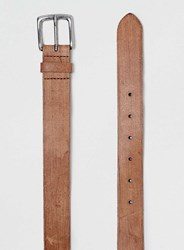 Topman Tan Leather Vintage Belt Brown
